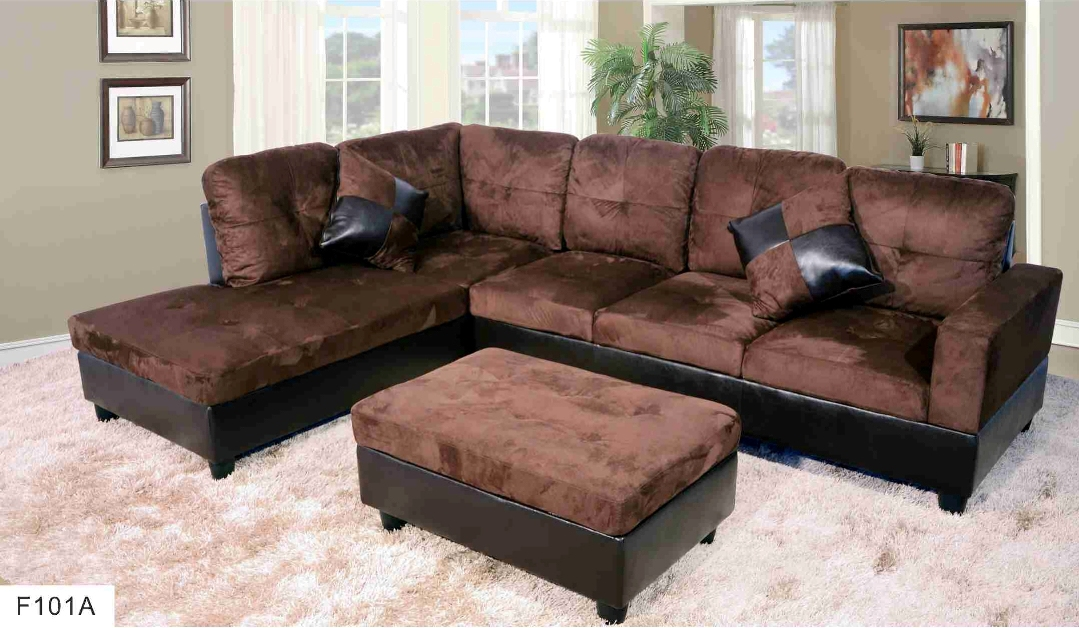 F101A U2013 Brown Microfiber U0026 Faux Leather Sectional With Storage Ottoman