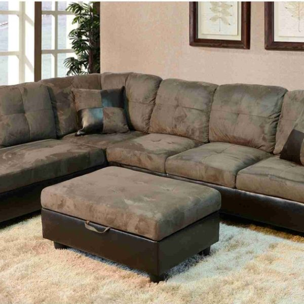 faux leather sectional. F102A \u2013 Gray Microfiber \u0026 Faux Leather Sectional With Storage Ottoman C