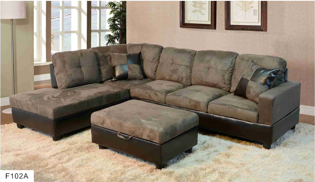 F102a Gray Microfiber Amp Faux Leather Sectional With