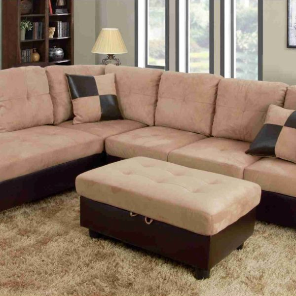 F103A u2013 Beige/Brown Microfiber u0026 Faux Leather Sectional with Storage Ottoman & F103A u2013 Beige/Brown Microfiber u0026 Faux Leather Sectional with Storage ...