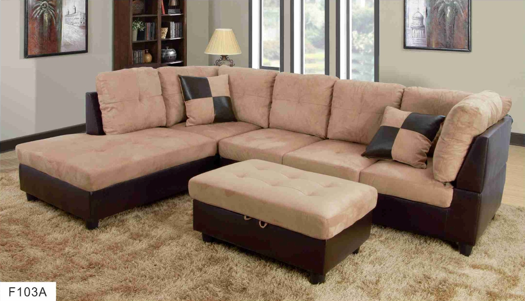 F103a Beige Brown Microfiber Amp Faux Leather Sectional