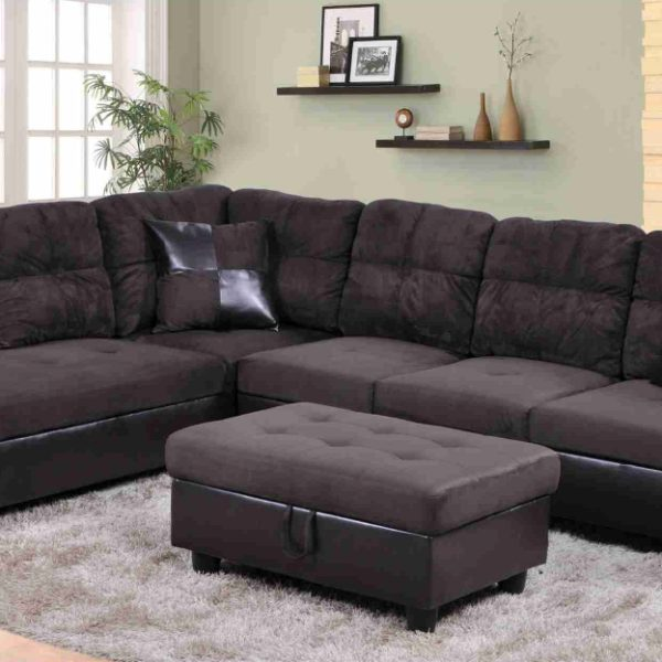 F105A u2013 Brown Microfiber u0026 Faux Leather Sectional with Storage Ottoman : microfiber storage ottoman  - Aquiesqueretaro.Com
