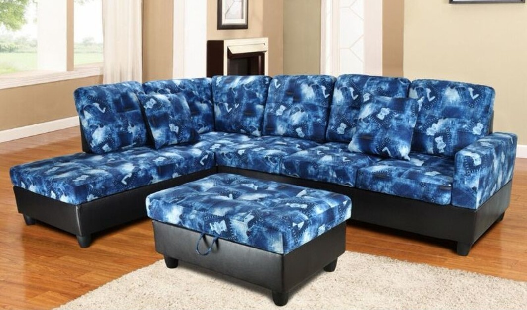 f106a  blue denim sectional with storage ottoman  all
