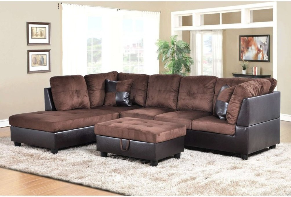 F107a Dark Brown Microfiber Amp Faux Leather Sectional