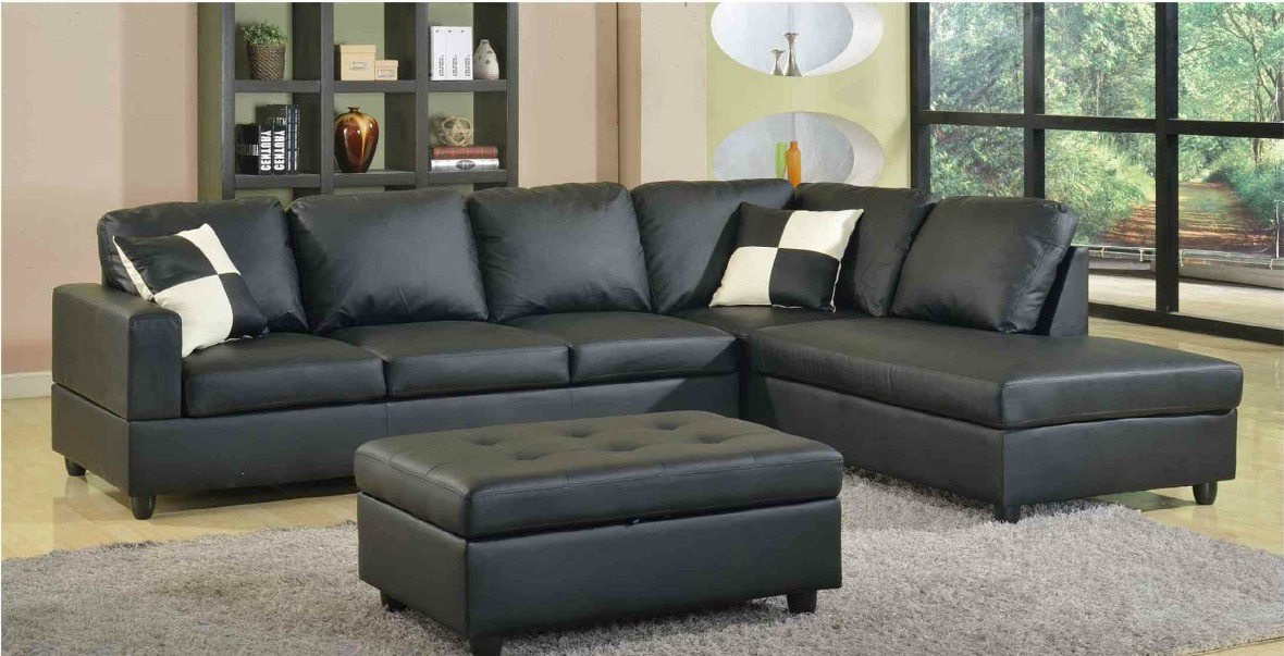 F22B - Black Bonded Leather Sectional with Storage Ottoman