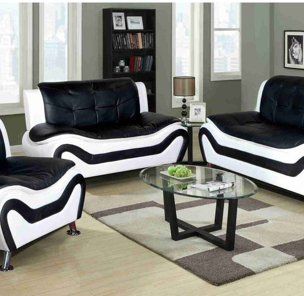 F4501 – Black & White Ceccina Modern Leather Sofa, Loveseat, and Chair