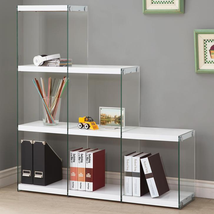 Glossy White Black Bookcase With Glass Sides All Nations