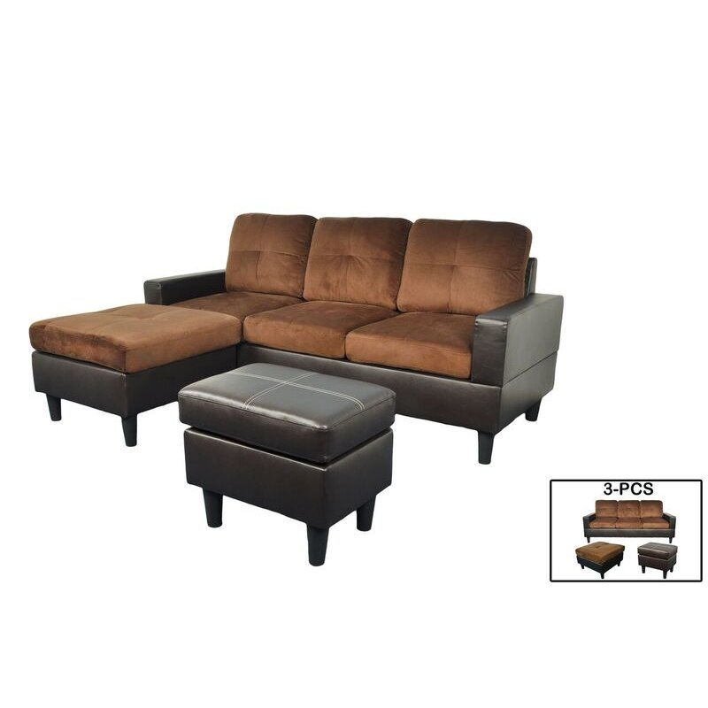 F071 t brown microfiber and faux leather sectional with for Brown microfiber sectional with chaise