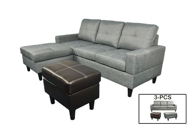 F072-T - Gray Microfiber and Faux Leather Sectional with Ottoman
