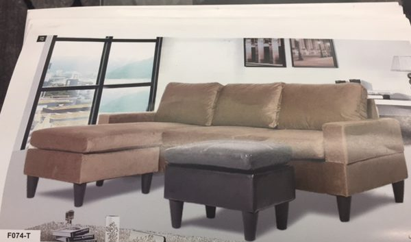 faux leather sectional. F074-T \u2013 Gold Microfiber And Faux Leather Sectional Set With Ottoman