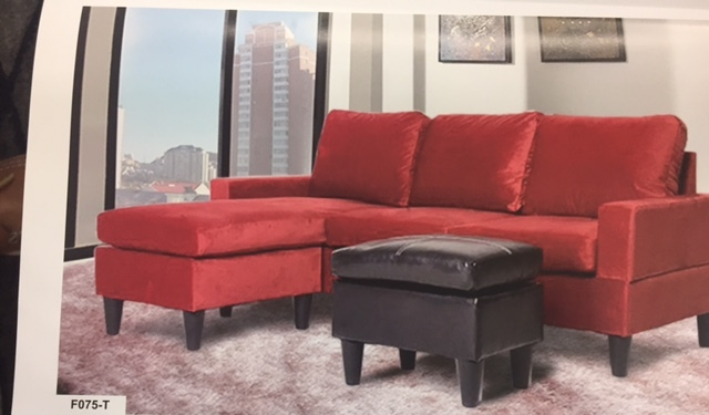 faux leather sectional. F075-T \u2013 Red Microfiber And Faux Leather Sectional Set With Ottoman
