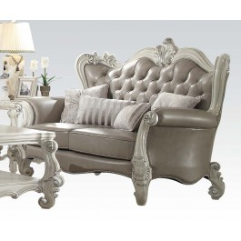 Versailles Sofa Loveseat And Chair In Wood With Bone White Finish