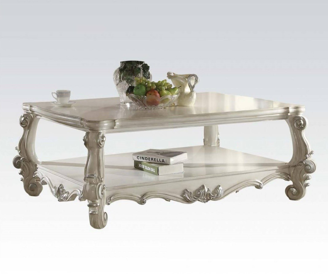 Versailles Square Coffee Table: Versailles Occasional Set In Wood With Bone White Finish