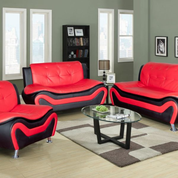 F4503 Red Amp Black Ceccina Modern Leather Sofa Loveseat