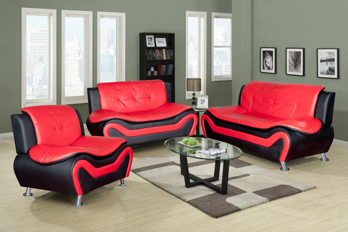 Ceccina Modern Leather Sofa Loveseat